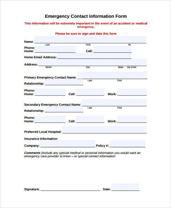contact form template word – Information Form Template Word