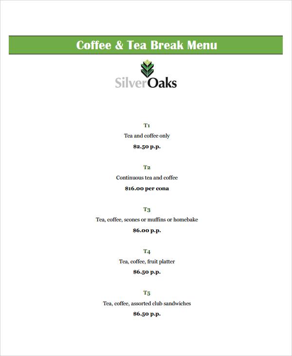 8+ Sample Coffee Menu Templates Sample Templates