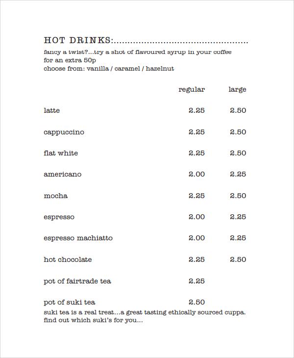 Menu List Sample 9+ menu list samples sample templates printable - menu list sample