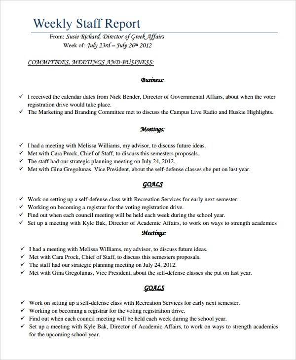 7+ Sample Staff Report Templates Sample Templates