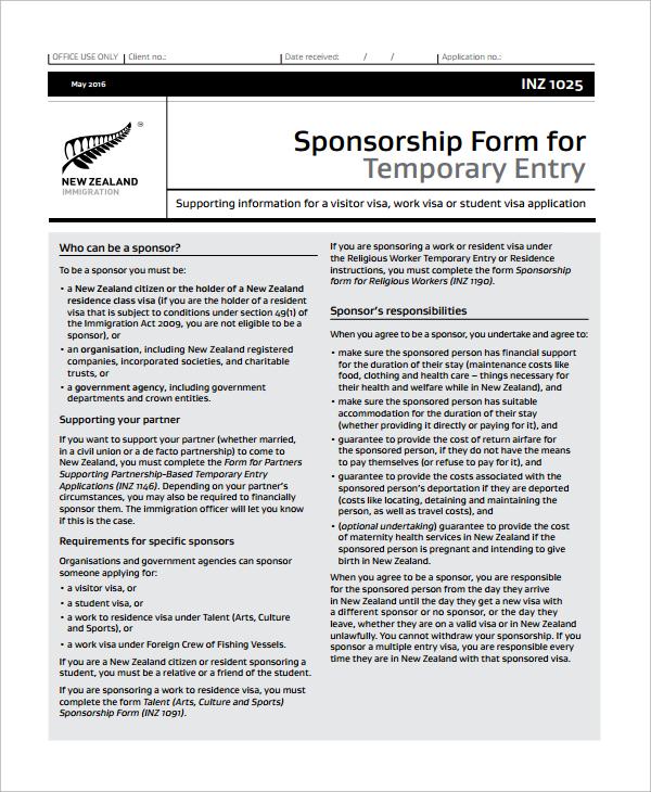sponsor immigration form - Honghankk