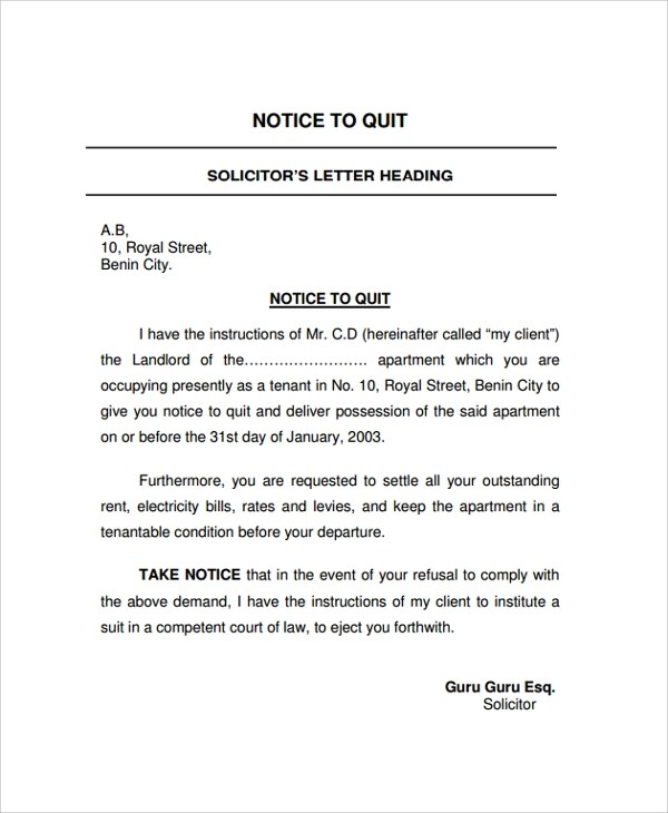 22+ Sample Notice Letters Sample Templates - notice letter