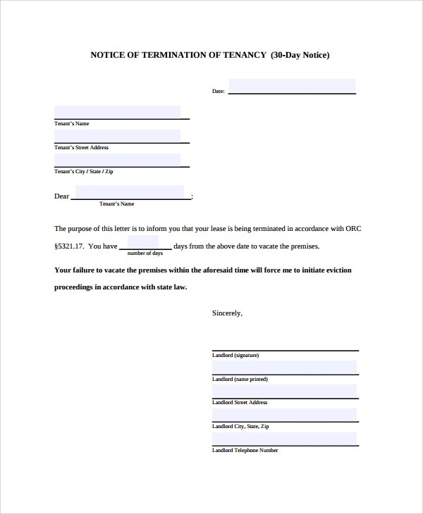 Sample Notice Letter - 21+ Documents in PDF, Word - 30 day notice template
