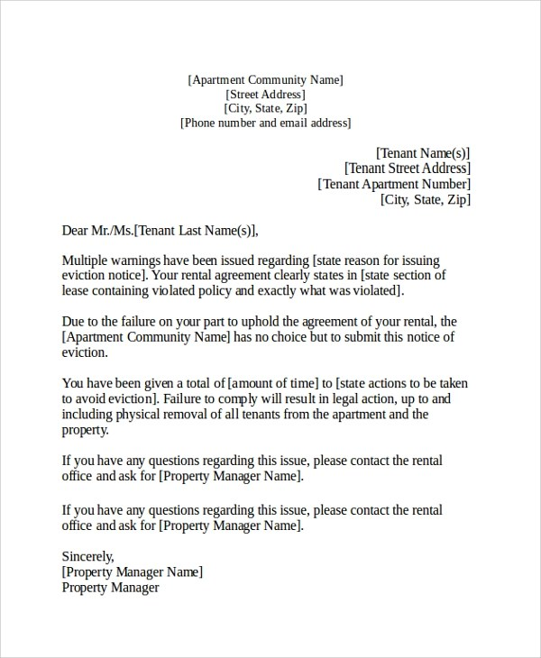 notice of eviction letter - Militarybralicious - landlord eviction notice letter