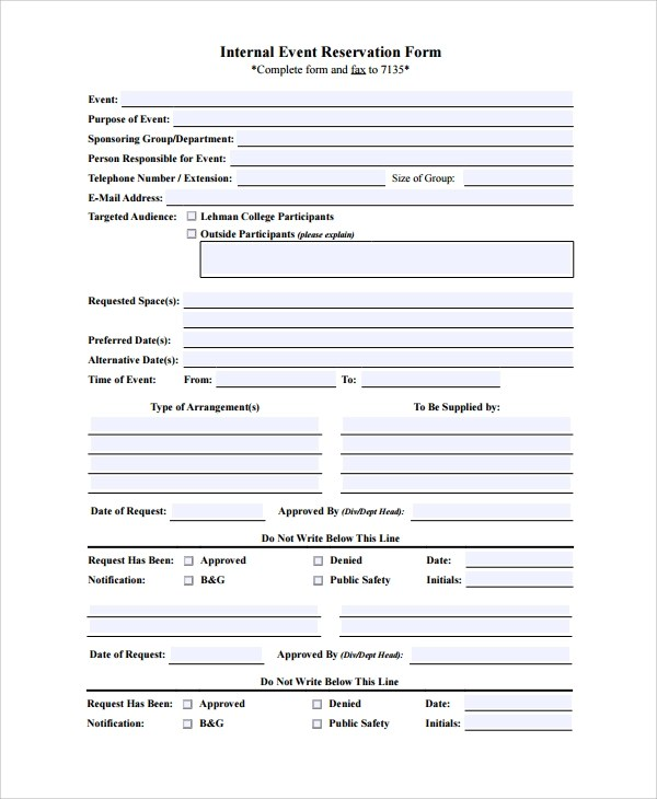 10+ Sample Reservation Forms Sample Templates - free reservation forms