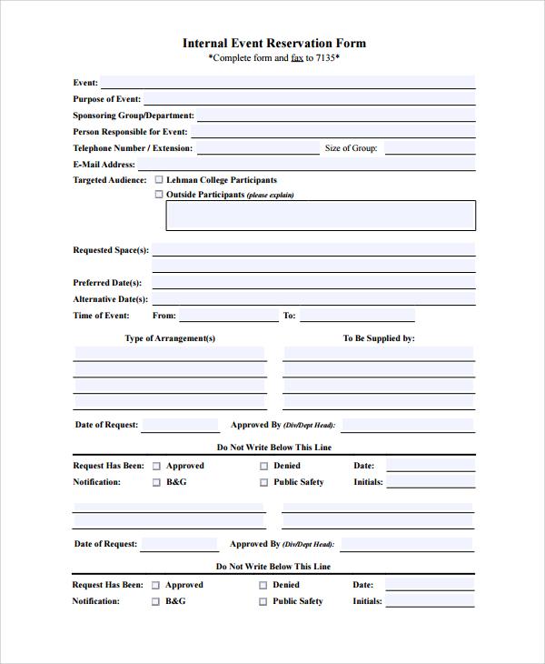 10+ Sample Reservation Forms Sample Templates