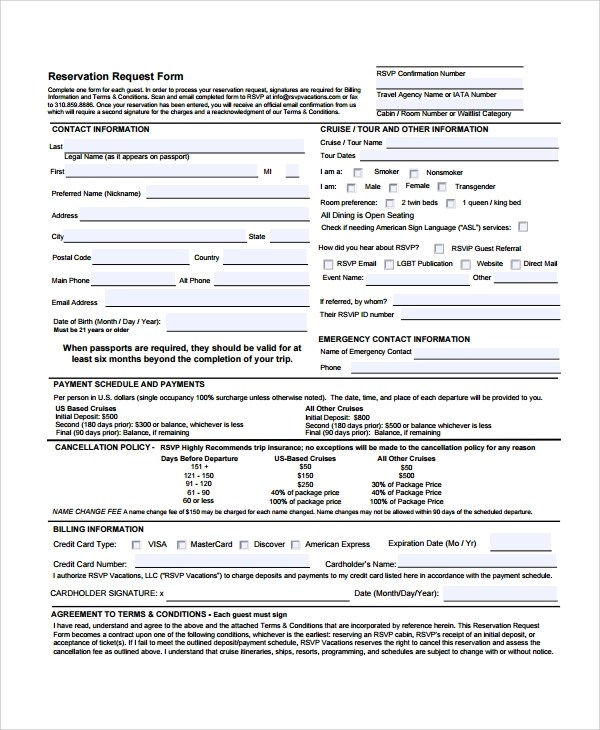 Reservation Forms - radioincogible