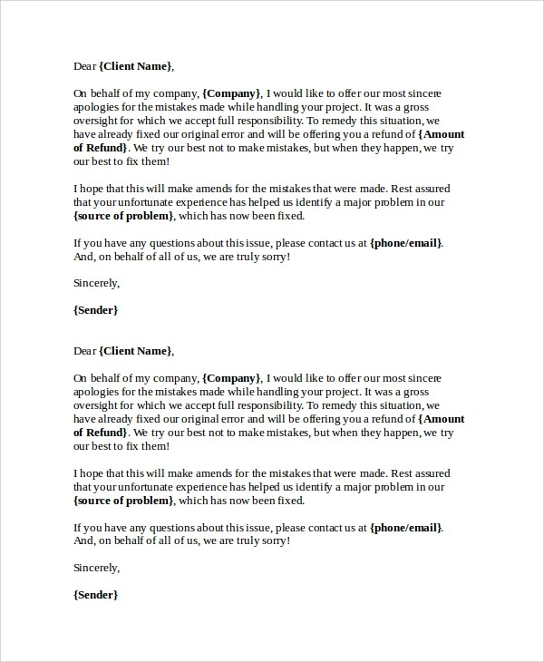 23+ Sample Apology Letters \u2013 Word, PDF, Pages Sample Templates - How To Make An Apology Letter
