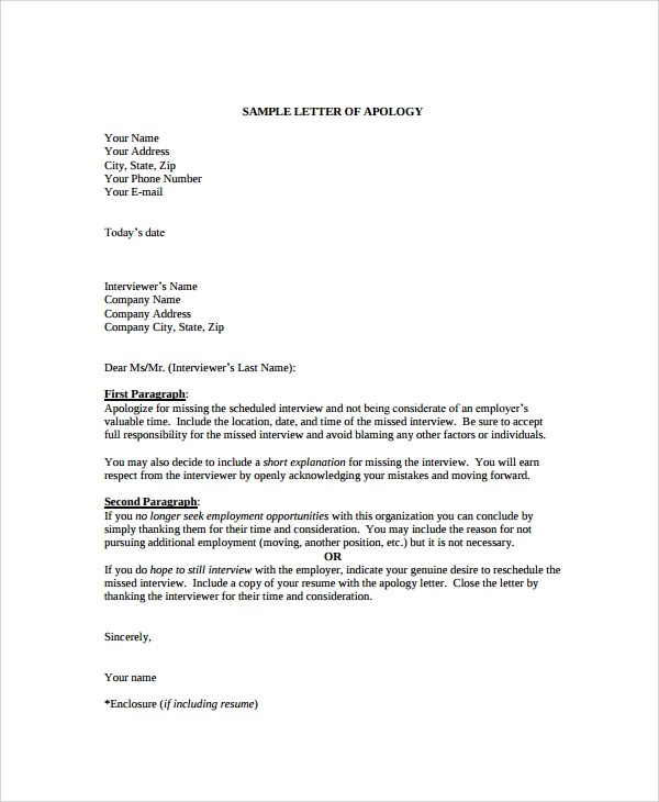 Sample Apology Letter - 20+ Documents in PDF, Word - letter of apology to your boss