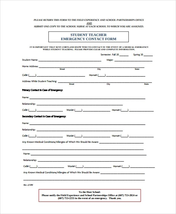 8+ Emergency Contact Form Samples, Examples, Templates