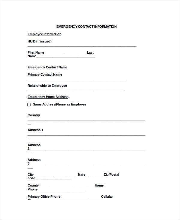 8+ Sample Emergency Contact Forms Sample Templates - contact information form