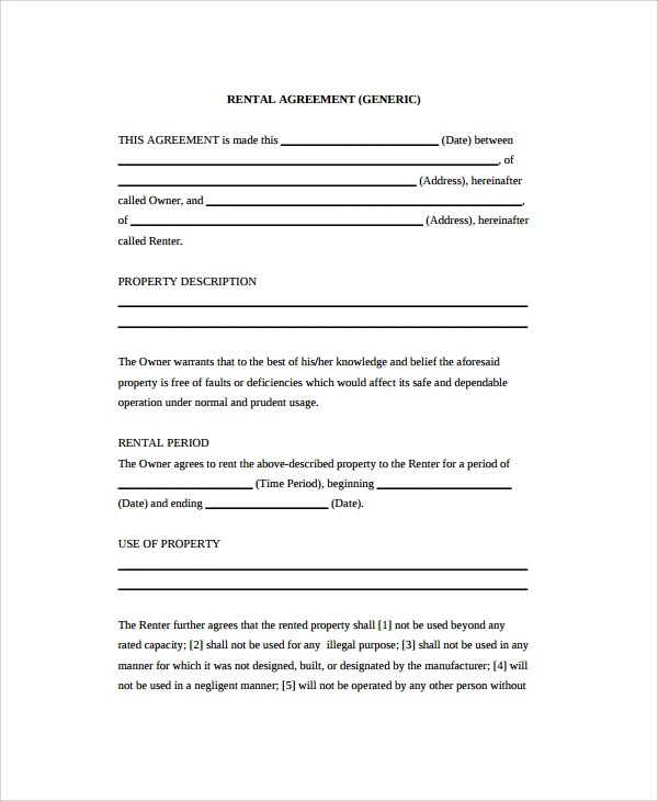 20+ Sample Rental Agreements Sample Templates - generic rental contract