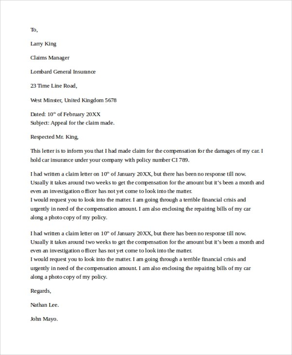 Death Claim Letter Sample Letters Letter To Insurance Company To Settle Claim Settlement