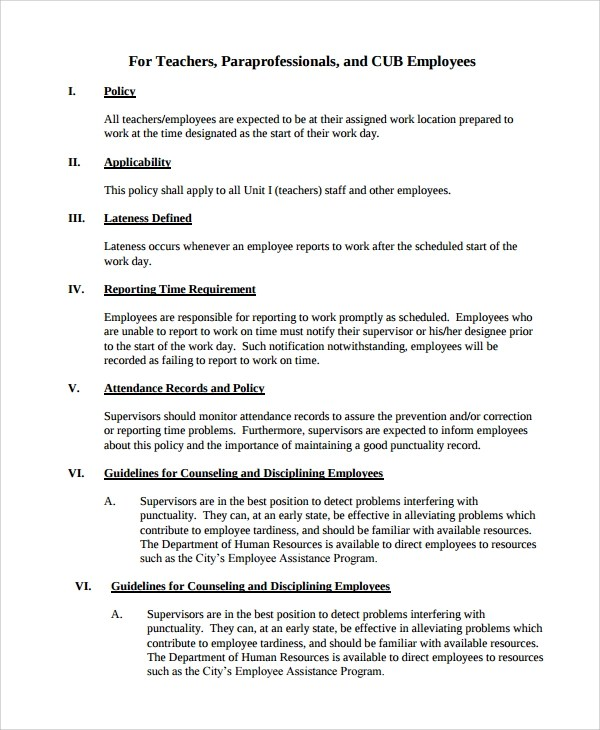 Sample Attendance Policy - 6+ Documents in PDF - attendance report template