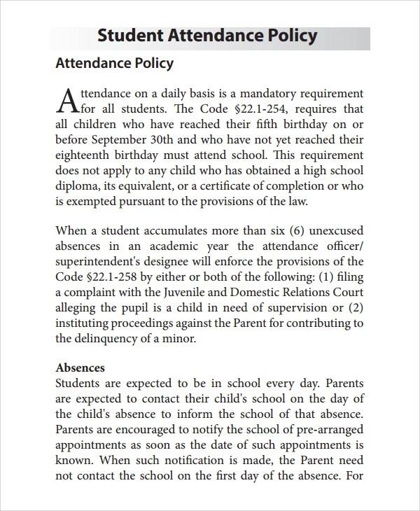 7+ Sample Attendance Policy Templates Sample Templates - school attendance officer sample resume
