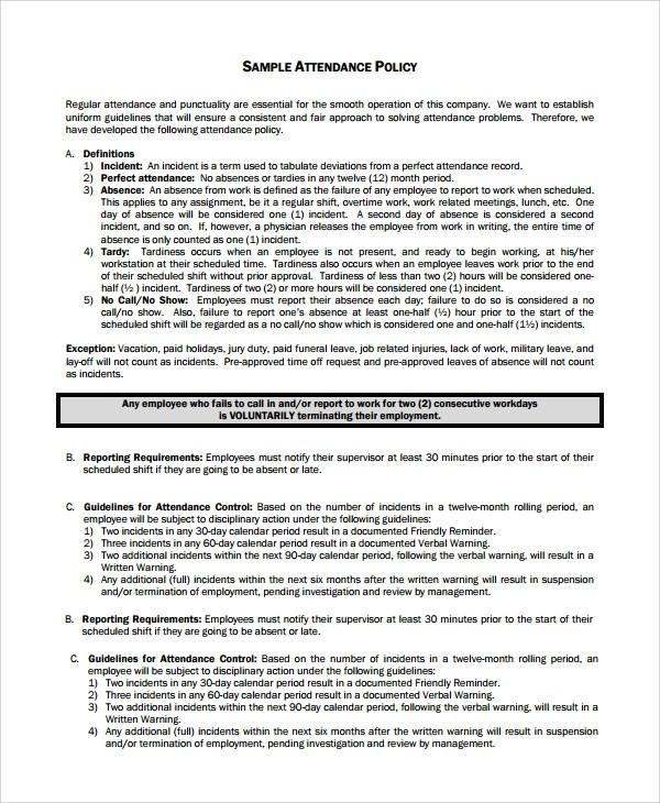 7+ Sample Attendance Policy Templates Sample Templates