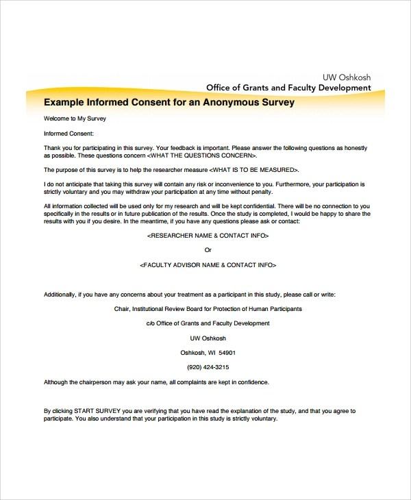 7+ Sample Survey Consent Forms Sample Templates - survey forms in word