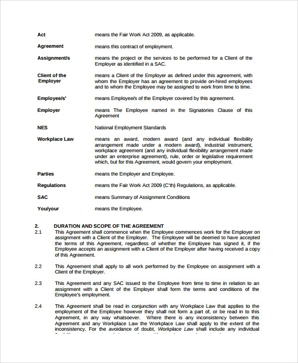 Sample Casual Employment Agreement - 8+ Documents in PDF, Word