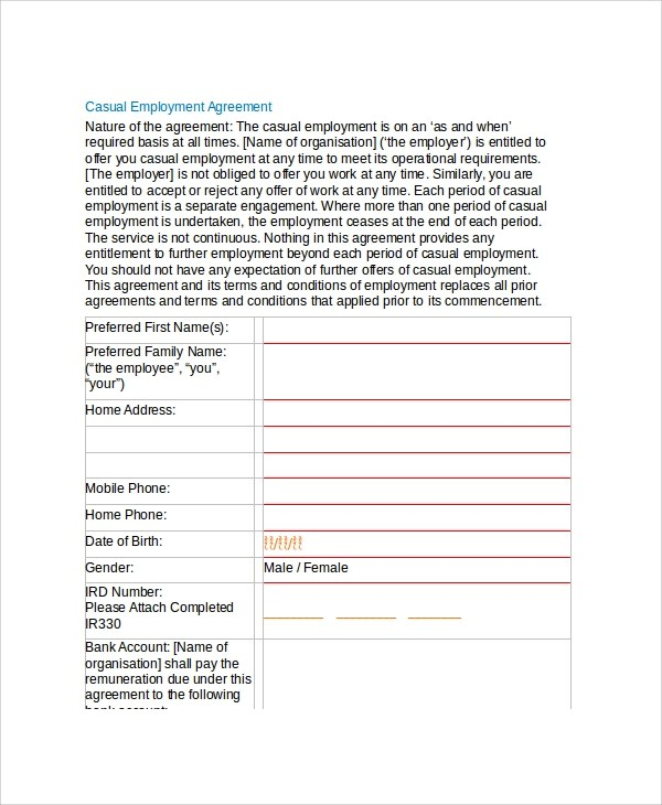 Great Individual Employment Agreement Template Nz