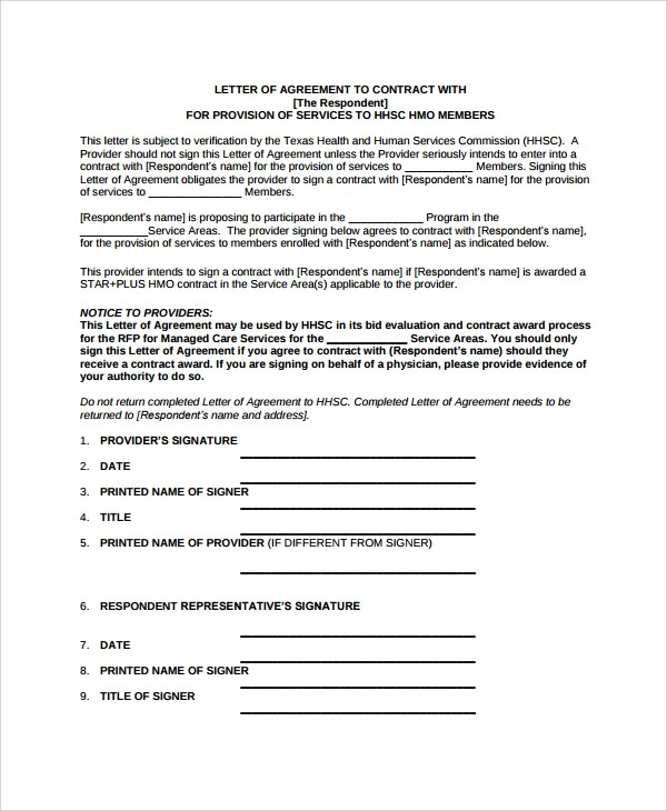 Gallery of Subcontractor Letter Of Intent Template