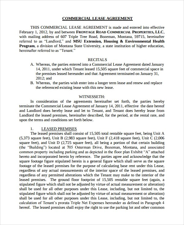 Standard Commercial Lease Agreement California Choice Image - sample commercial lease agreement