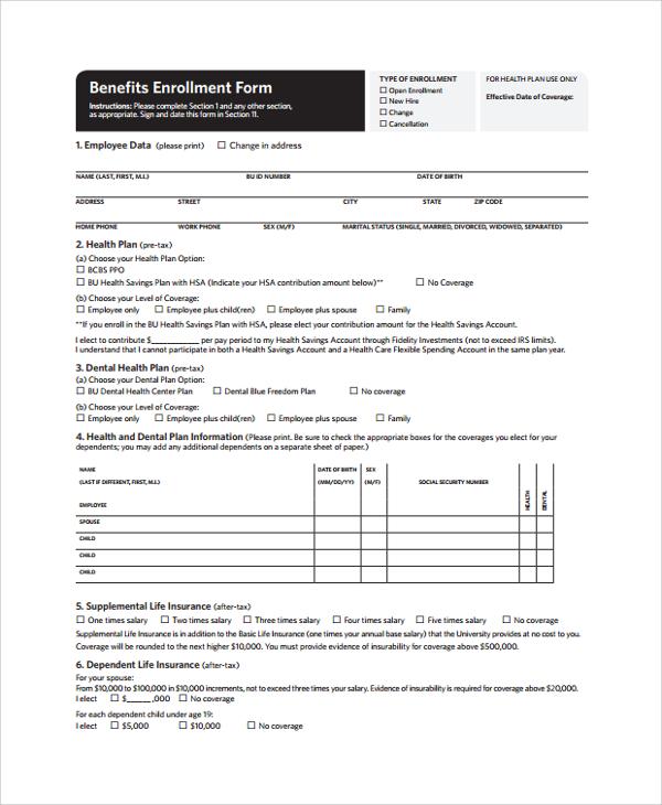 9+ Sample Enrollment Forms Sample Templates - enrollment form template