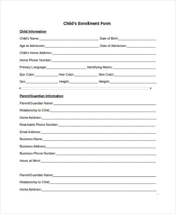 9+ Sample Enrollment Forms Sample Templates - enrollment form format