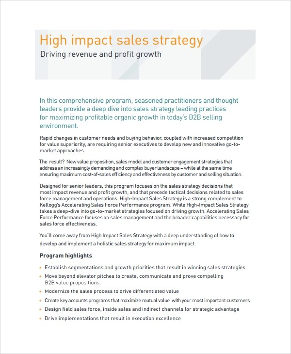 Sample Sales Strategy - 7+ Documents in Word, PDF