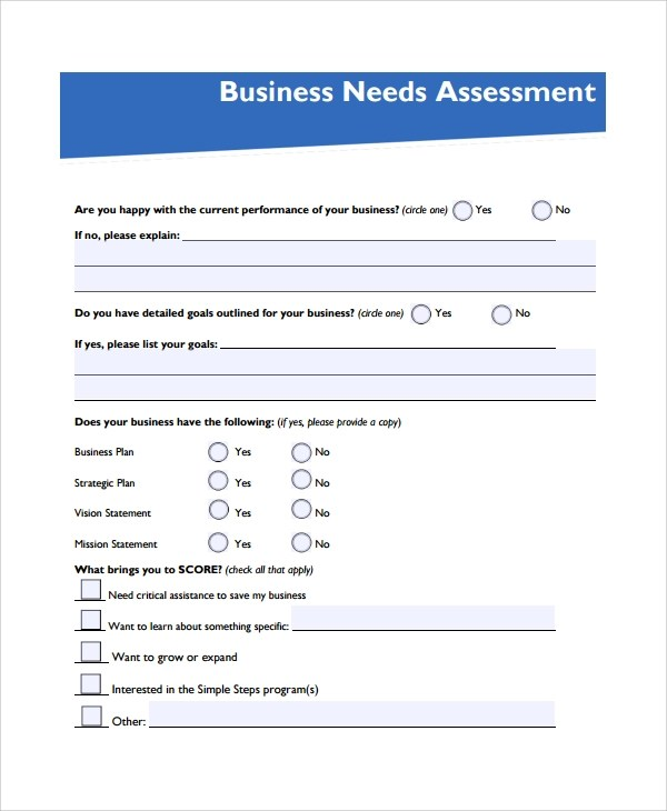 10+ Sample Needs Assessments Sample Templates - business needs assessment template