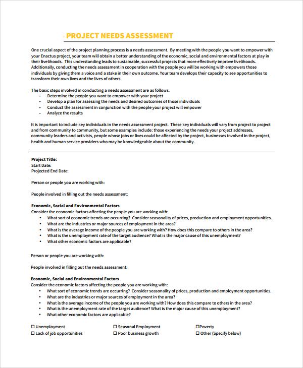 10+ Sample Needs Assessments Sample Templates