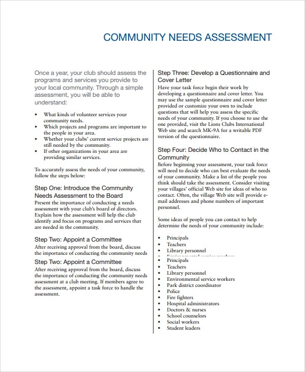 Sample Needs Assessment Community Needs Assessment Template Sample - needs assessment example