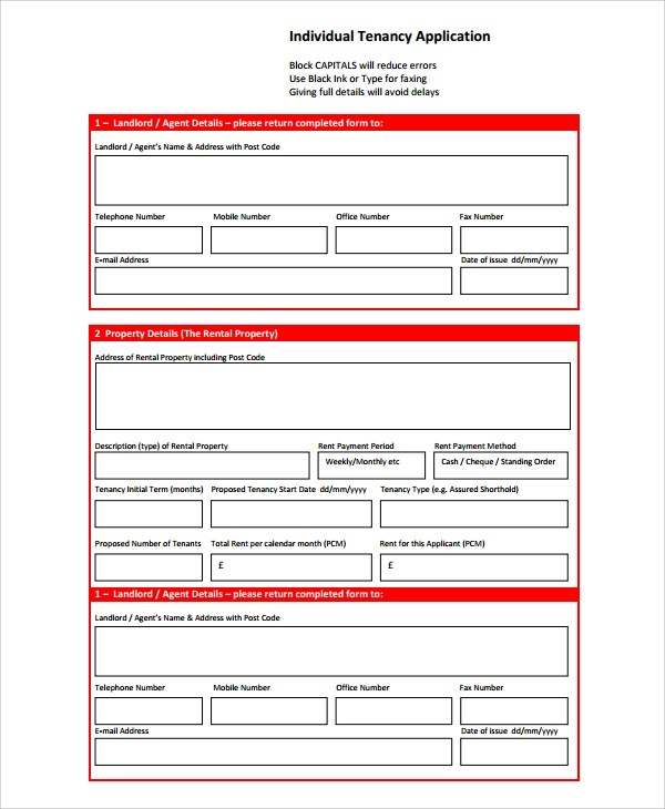 Sample Rental Application Form - 7+ Documents in Word, PDF - lease application form