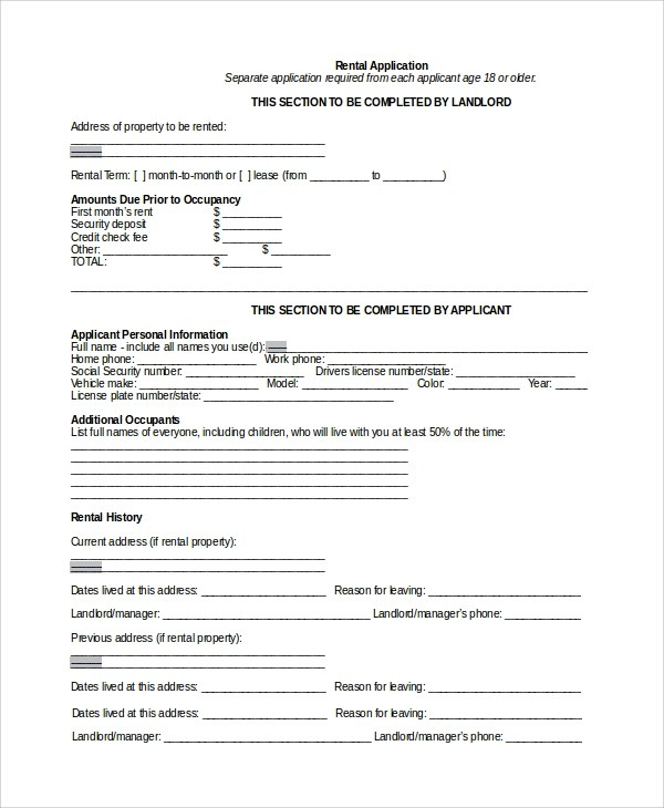 8+ Rental Application Form Samples, Examples, Templates Sample