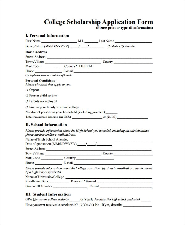 9+ Sample Scholarship Forms Sample Templates