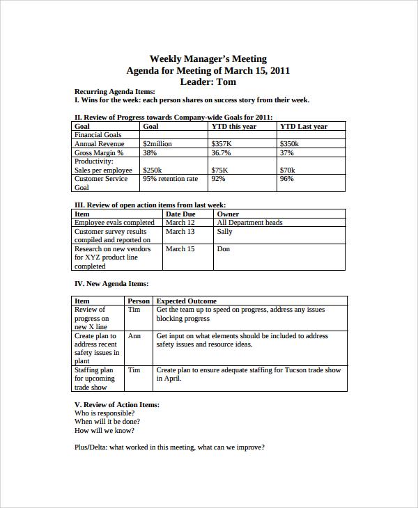 8+ Sample Weekly Agenda Templates Sample Templates