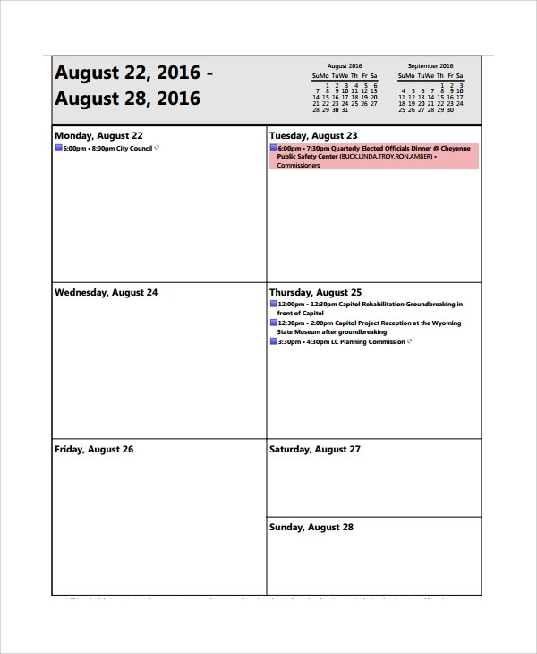 8+ Sample Weekly Agenda Templates Sample Templates