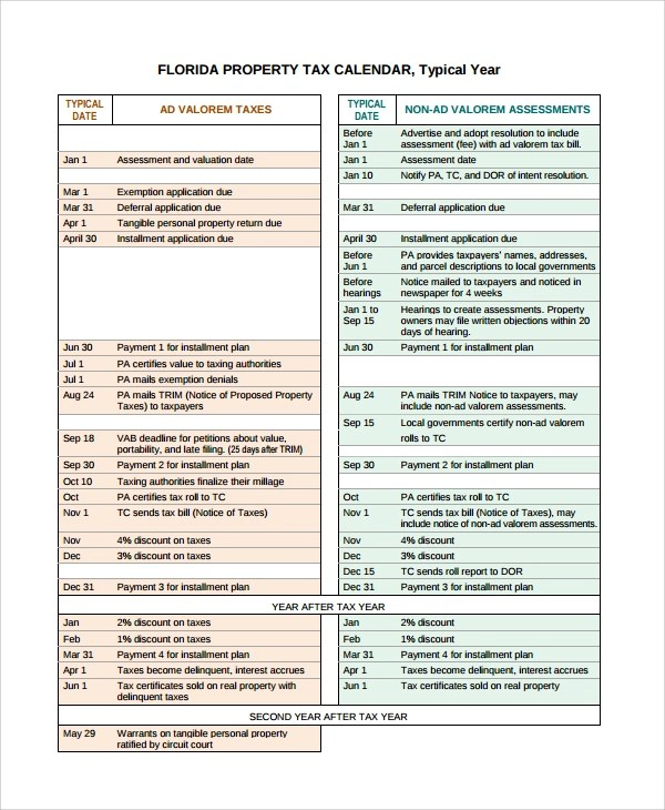 7+ Sample Bill Calendar Templates Sample Templates
