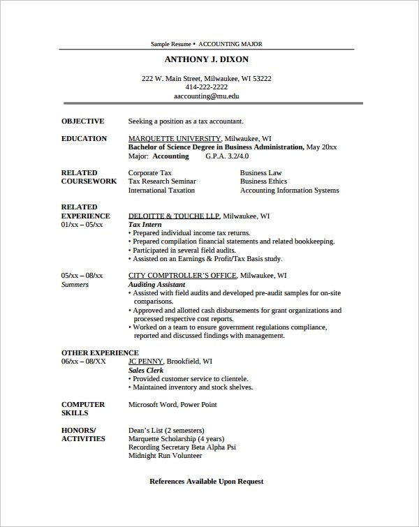 25+ Sample Resumes Sample Templates - samples of accounting resumes