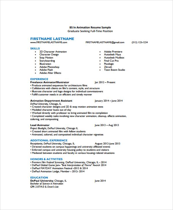 download sample resume online