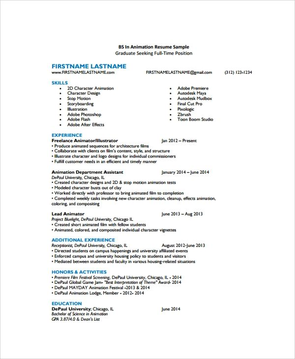 resume bio sample