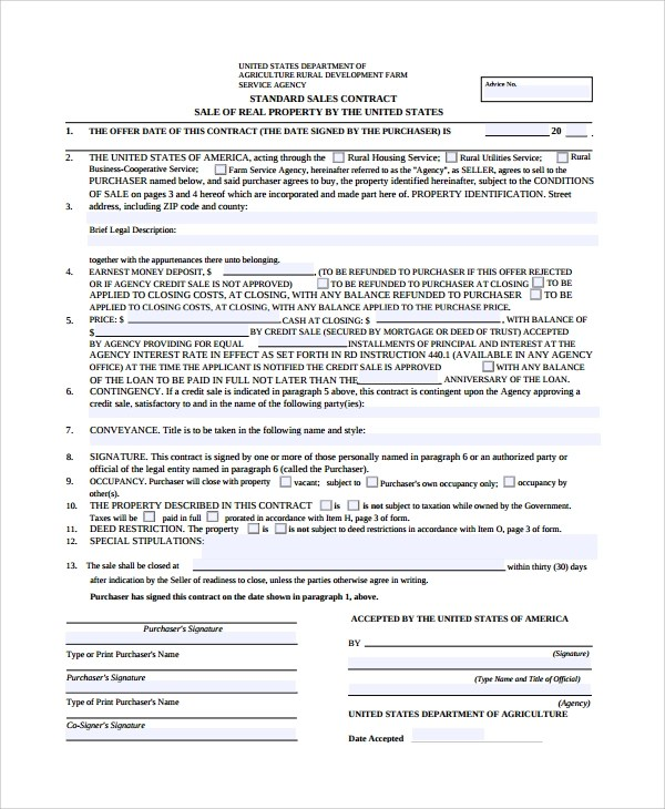 Sample Sales Contract - 7+ Documents in Word, PDF - home sales contract