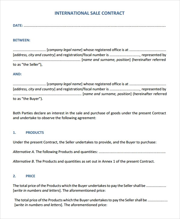 Sample Sales Contract - 7+ Documents in Word, PDF - sales contract