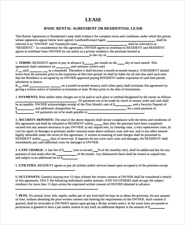 8+ Sample Residential Lease Agreements Sample Templates