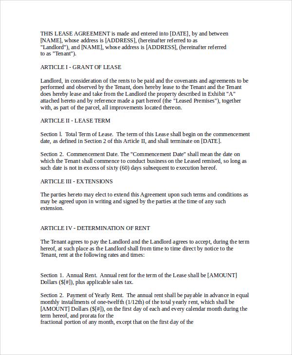 8+ Sample Commercial Rental Agreements Sample Templates - define rental agreement