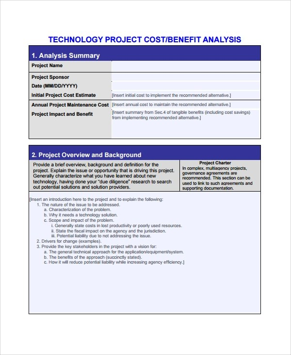 8+ Sample Cost Benefit Analysis Templates Sample Templates