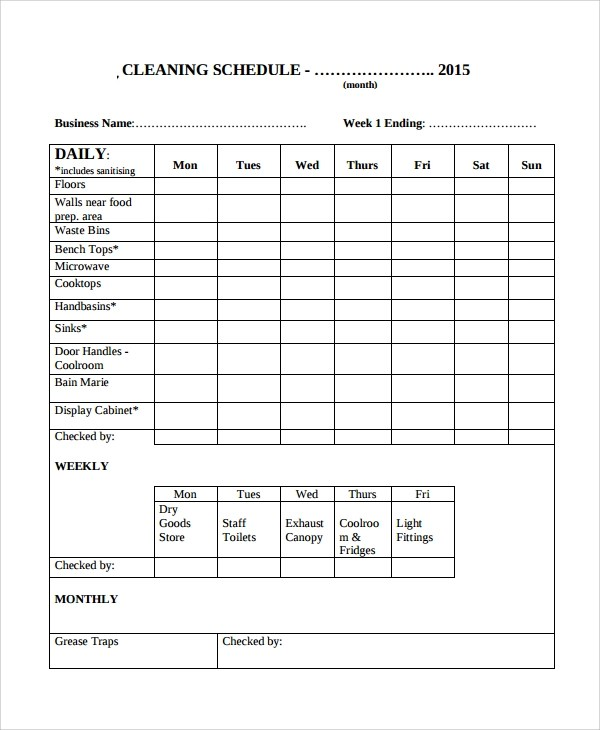 8+ Sample Cleaning Checklist Templates Sample Templates