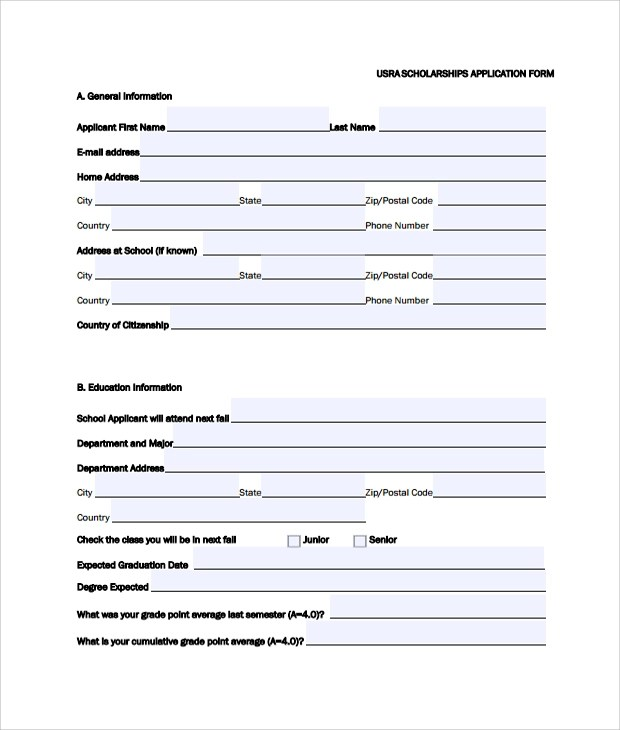 8+ Sample Scholarship Application Forms Sample Templates - general application form