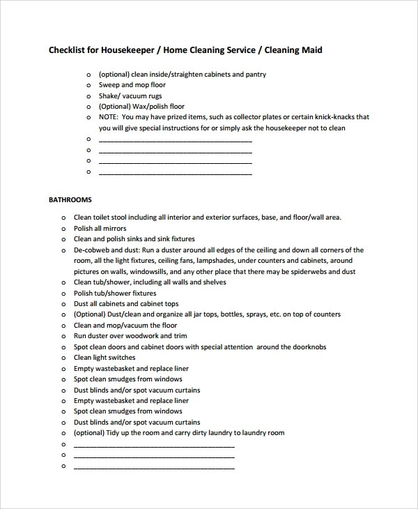 8+ Sample Cleaning Checklist Templates Sample Templates - housekeeper cleaning checklist