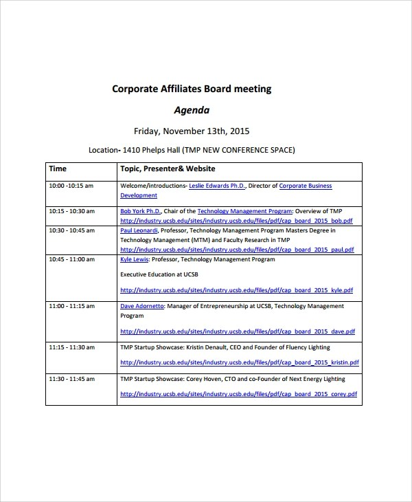 8+ Sample Board Meeting Agenda Templates Sample Templates