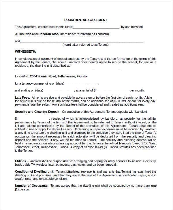 Sample Room Rental Agreement - 8+ Documents in Word, PDF